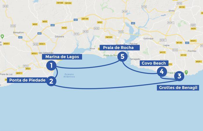 Karte der Segelroute an der Algarve von Lagos ausgehend
