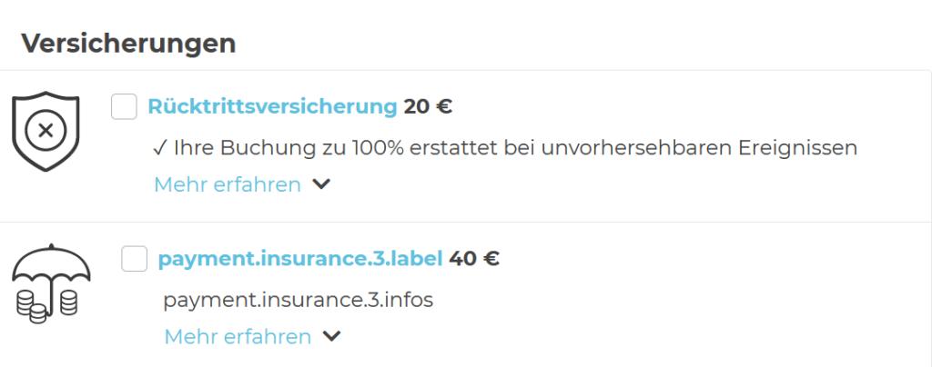 Übersicht von zwei Versicherungen: Rücktrittsversicherung und Payment Insurance