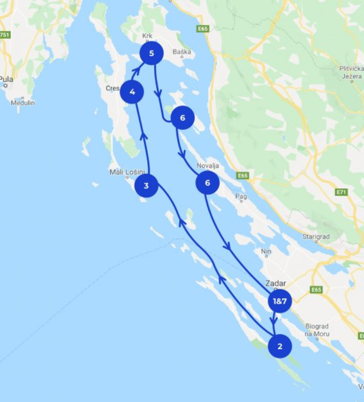 Segelrout Kroationen mit Start in Zadar