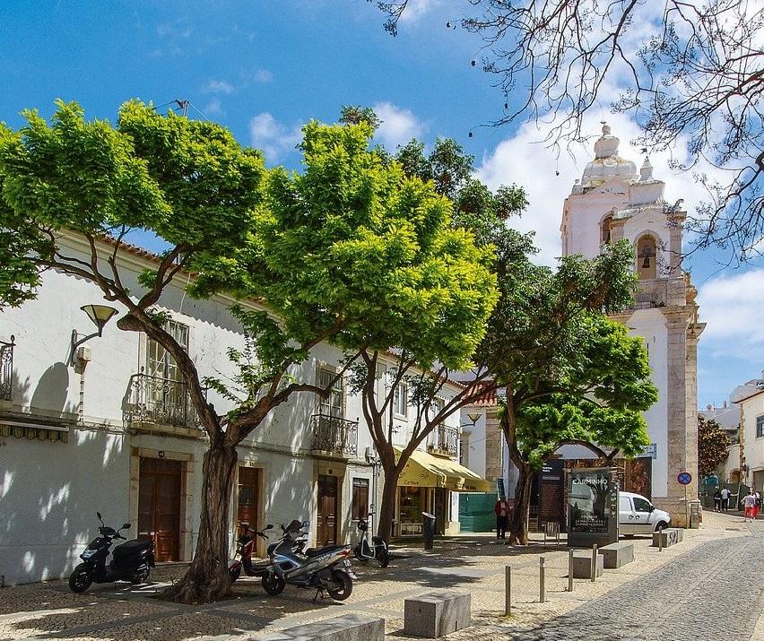 Straße mit Bäumen und einer Kirche in Lagos an der Algarve in Portugal