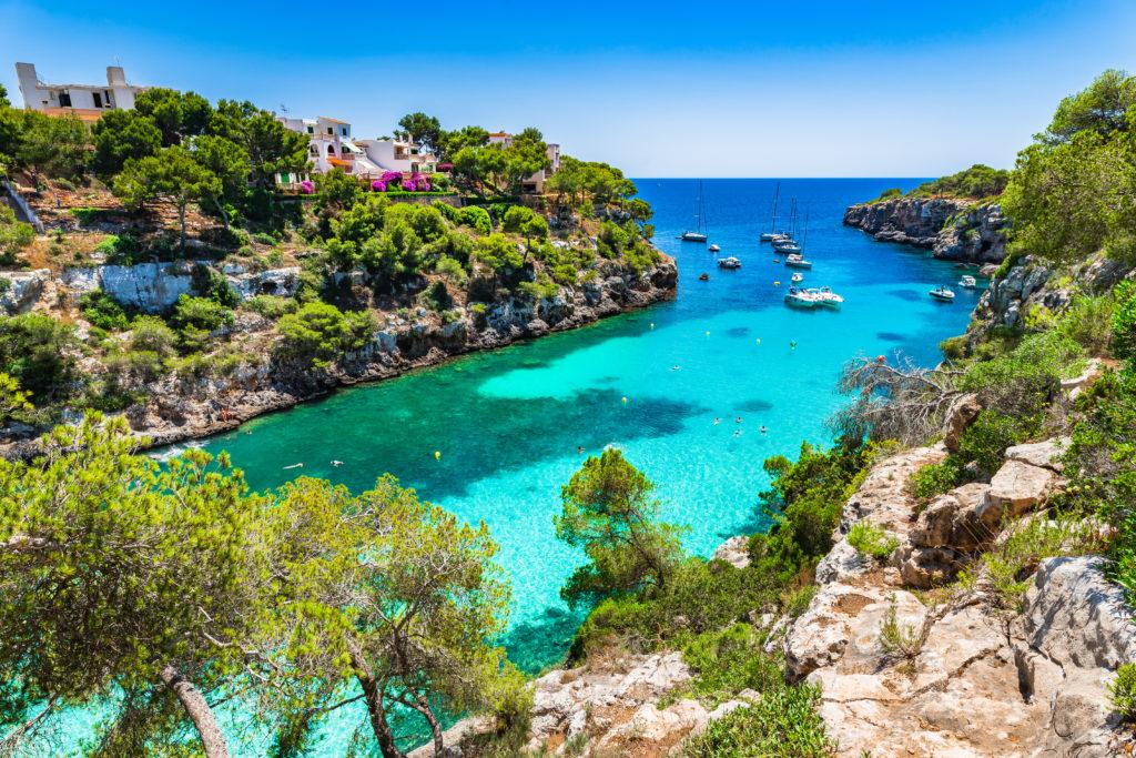Küste mit grünen Pflanze und glasklarem blauen Wasser auf dem mehrere Segelboote schwimmen