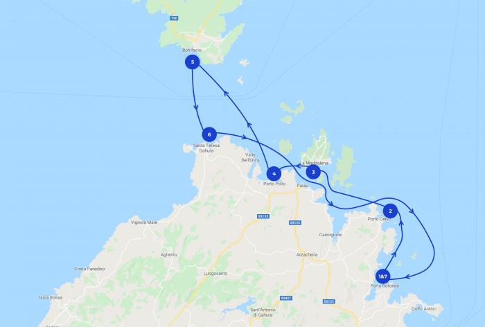Karte mit 7-tägige Segelroute um Sardienien