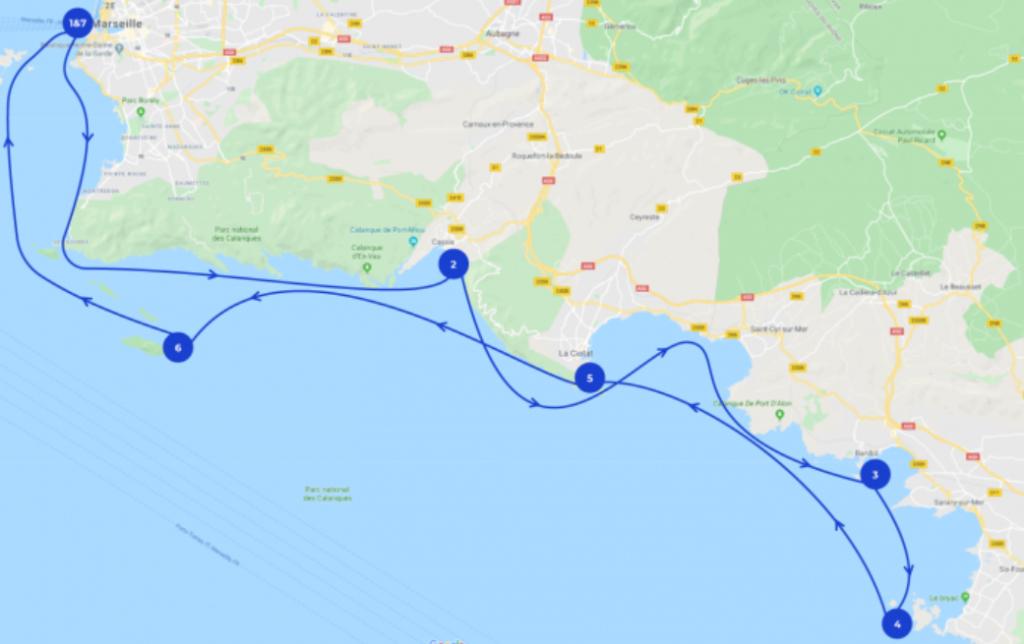 Segelroute an der Côte d'Azur mit Teilstationen auf der Landkarte