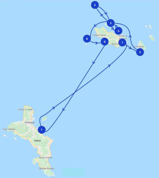 Karte mit Segeltörn um die Inseln der Seychellen
