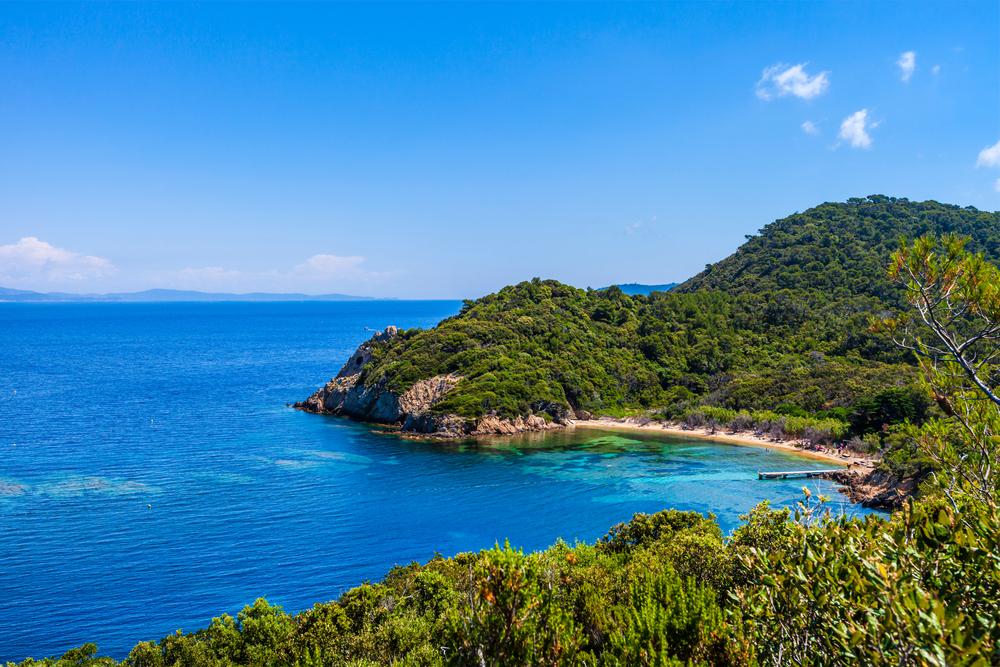 Blick auf die Küste von Port-Cros, Insel im Mittelmeer-Archipel der Îles d'Hyères im Süden Frankreichs