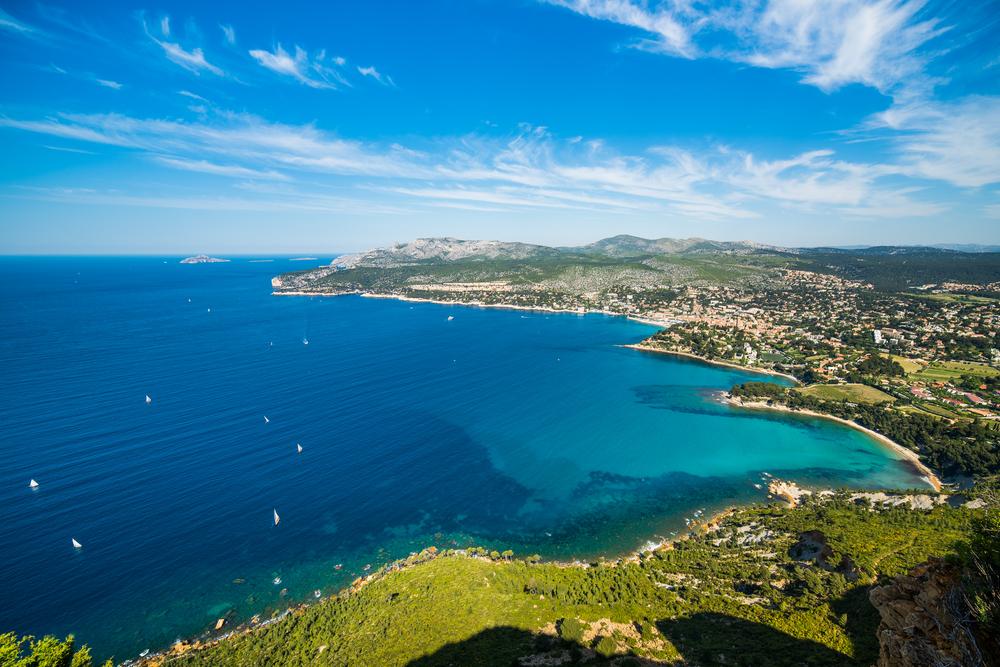 Blick auf die Cote d'Azur und die Stadt La Ciotat, Frankreich