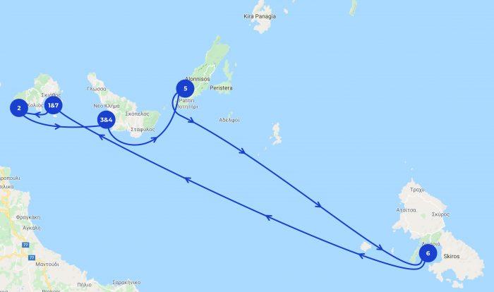Karte mit den verschiedenen Stationen des Segeltörns um die Sporaden