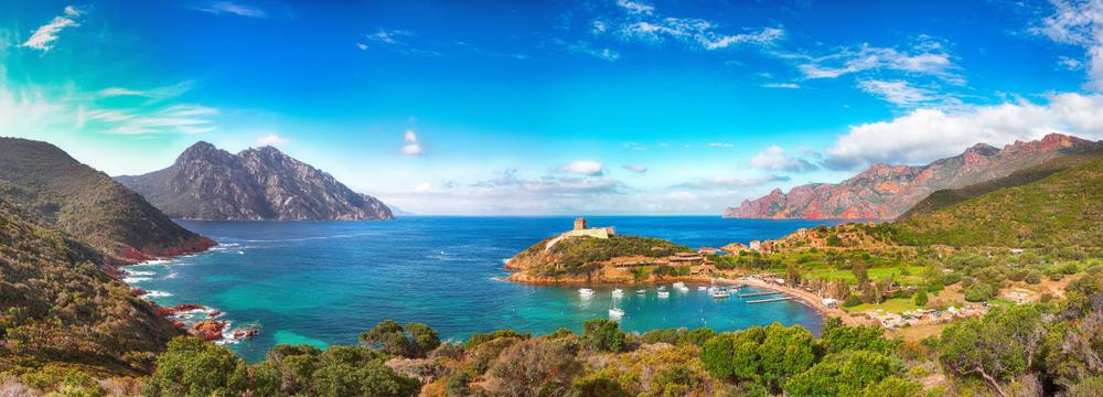 Girolata Bucht im Naturschutzgebiet von Skandola. Corse du Sud, Korsika, Frankreich, Europa
