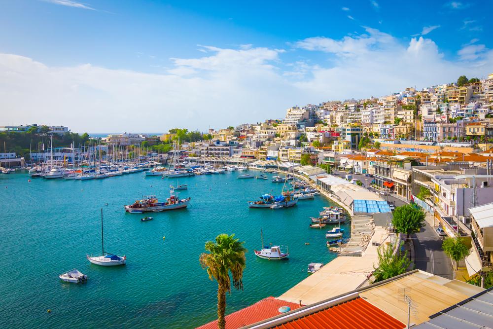 Piräus, Athen, Griechenland. Mikrolimano Hafen und Yachthafen