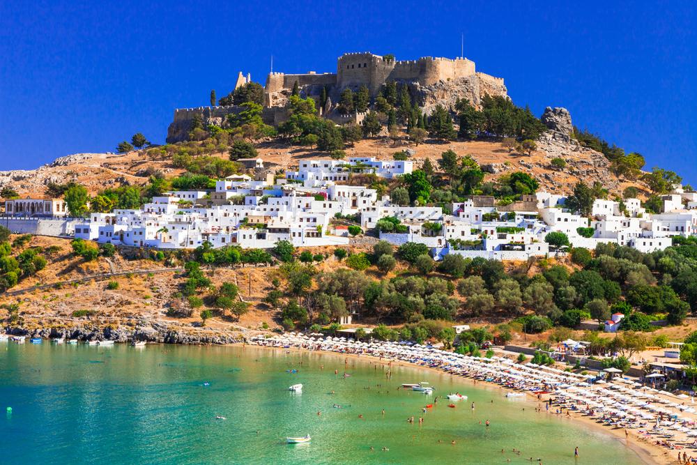 Insel Rhodes - berühmt für historische Sehenswürdigkeiten und schöne Strände .Griechenland